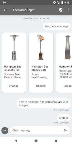 Google RCS Business Messaging Templates - Carousel Template
